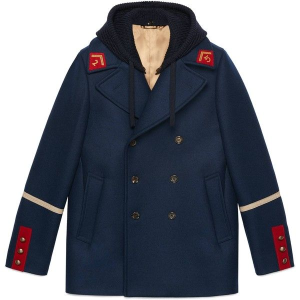 Gucci Embroidered Felt Coat ($2,615) ❤ liked on Polyvore featuring men's fashion, men's clothing, men's outerwear, men's coats, leather & casual jackets, men, ready-to-wear, mens navy coat, mens fur collar coat and mens double breasted coat