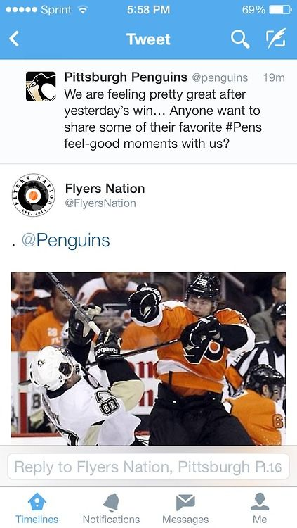 Not a flyers fan, but love this, can't stand Crosby and the Penguins