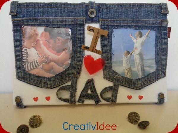 Festa del Papà: portafoto fai-da-te riciclando vecchi jeans creativapp Festa del papà fai da te home decor stoffa e lana