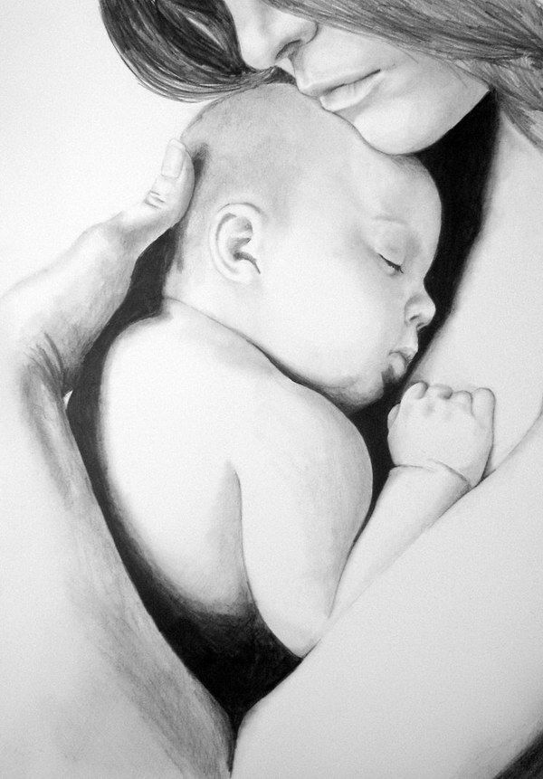 This is the canvas I imagine to be hanging over Hailey ' s bed, that her father painted of her and her mother.    50 Amazing Pencil Drawings, http://hative.com/50-amazing-pencil-drawings/,