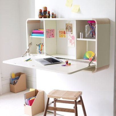 This neat wall-mounted desk solution flips open like a bureau, keeping files and papers out of sight when not in use.