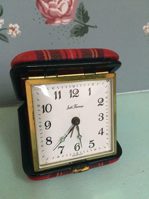 $40.00 Antique Seth Thomas Tartan Pattern Travel Alarm Clock Made in