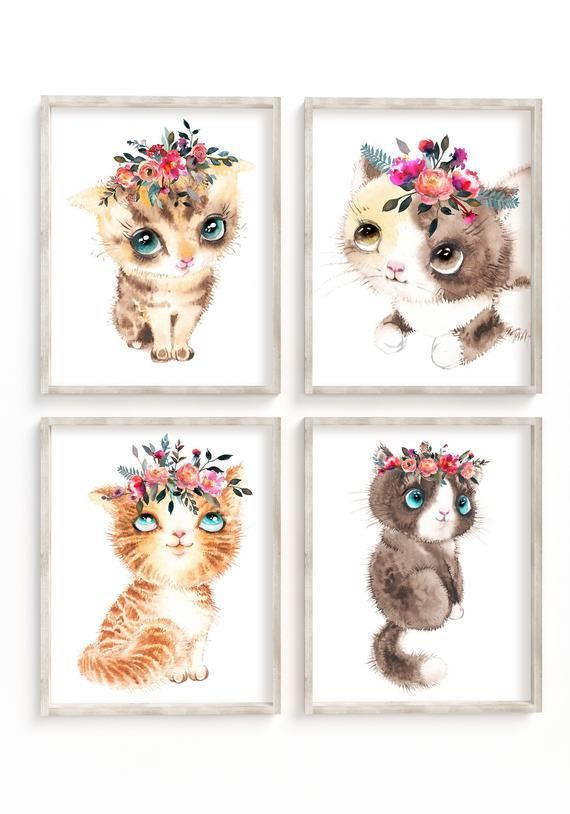 Gift for kids room decor Gift for Cat lovers Small oil painting Animal Wall Art Cat painting oil original on canvas
