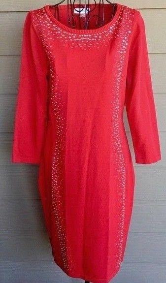 edfbe9b0ea Calvin Klein Studded Rhinestone Red Knit Dress #CalvinKlein ...