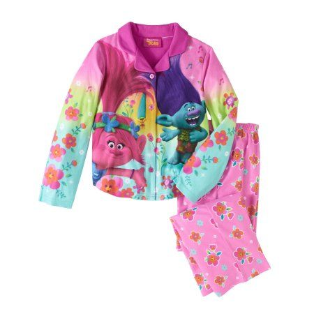 Trolls Girls' Button Down Top and Bottom Pajama 2-Piece Set, Size: 10/12, Pink