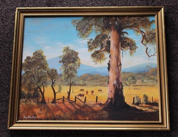 Signed & Framed Vintage Oil Painting Featuring Victorian Country Scene