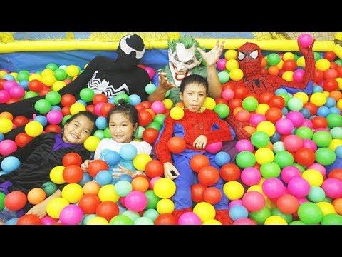 Spiderman and Frozen Elsa Balls Colors House In Real Life Funny W/ Super...