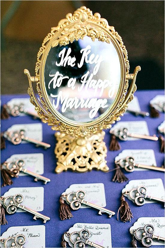 The Key to a Happy Marriage! Creative way to display escort cards or table numbers! VINTAGE GOLD BAROQUE