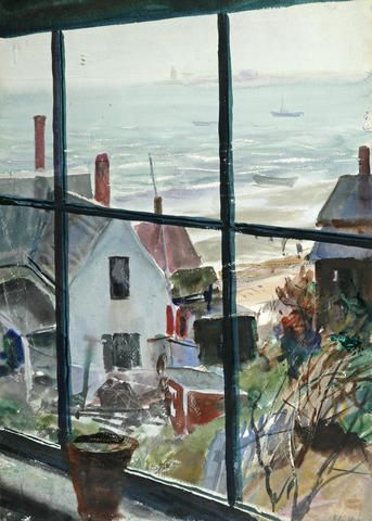 """dianelikesart: """"huariqueje: """" View Out the Window into the Harbour - John Whorf Impressionism Watercolor """" """""""