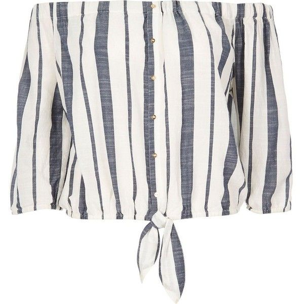 River Island Blue stripe bardot top (799.365 VND) ❤ liked on Polyvore featuring tops, blue, stripe top, loose fit tops, relaxed fit tops, loose tops and loose white top