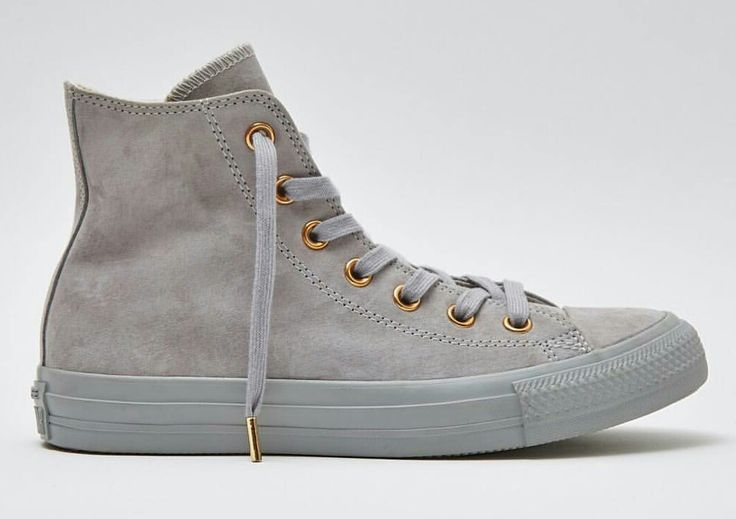 Grey suede converse with rose gold detail