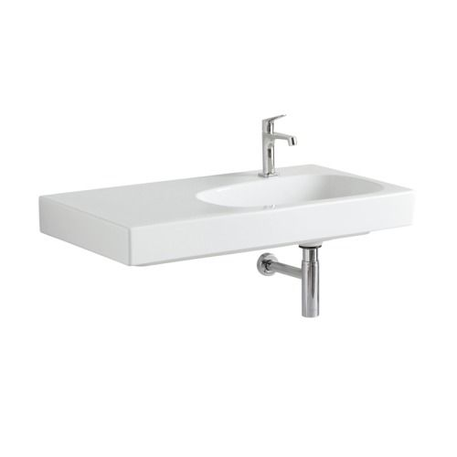 Keramag Citterio meubelwastafel 90x50cm. 1 kraangat afleg links wit - 123695000 - Sanitairwinkel.nl