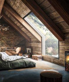 Blick ins Grüne: Riesiges Panoramafenster im Schlafzimmer mit Blick in die Natur oder nachts in den Sternenhimmel #Schlafzimmer #Panoramafenster