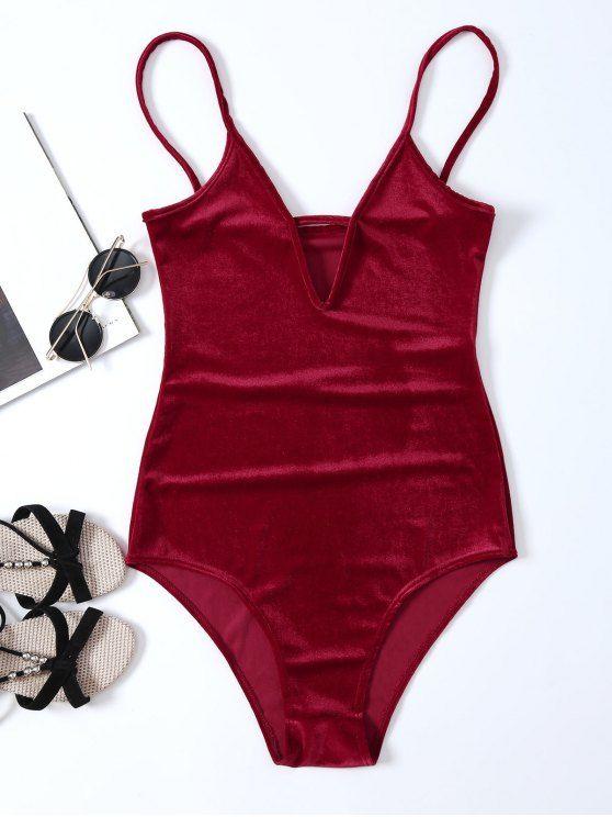 $14.99 High Cut Velvet Cami Bodysuit - RED S