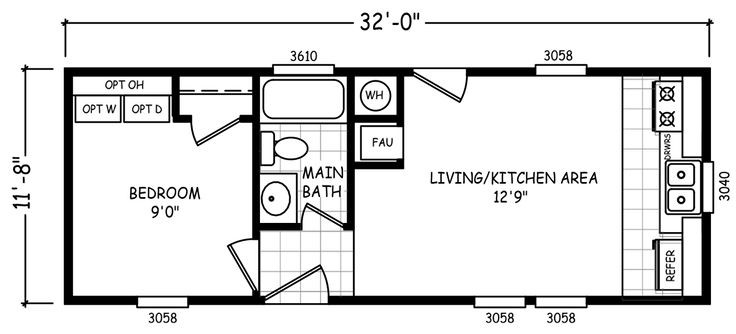 The Micro mobile home floor plan is a 12 X 32 374 sqft single-wide available for Sale in in TN, AL, KY, MO.