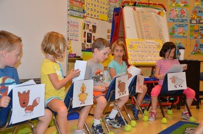 Cute readers' theater... look how they used the chairs to identify the characters -such a great idea!