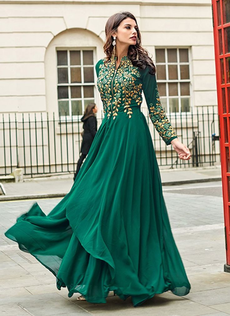 Buy Green Floor Length Anarkali Suit online from the wide collection of anarkali-suit.  This Green colored anarkali-suit in Faux Georgette fabric goes well with any occasion. Shop online Designer anarkali-suit from cbazaar at the lowest price.