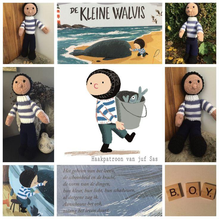 Gratis haakpatroon van Boy uit het prentenboek De kleine walvis handmade by @jufSas