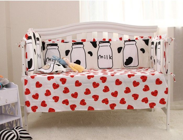 Promotion! 6PCS Baby Cot bedding cotton for boys girls baby bed bumpers baby Crib Set ,(4bumpers+sheet+pillow cover)