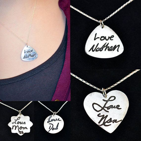 Silver Loved One's Actual Writing Necklace - Get 10% OFF with coupon code PINIT when purchasing on Etsy - Memorial Jewelry