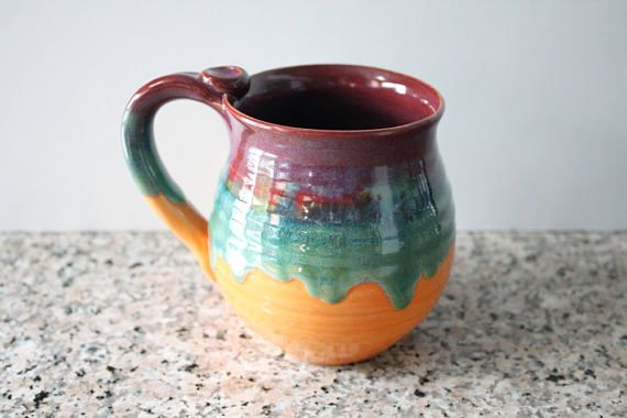 Colorful Mug  glazed in Merlot Green and Orange  Coffee Cup