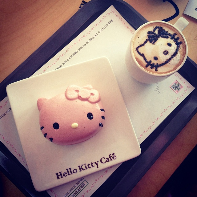 Strawberry cake and a latte at Hello Kitty Cafe in Seoul by seafaringwoman, via Flickr