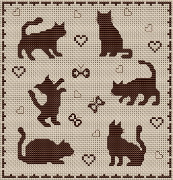 cat silhouette cross-stitch chart