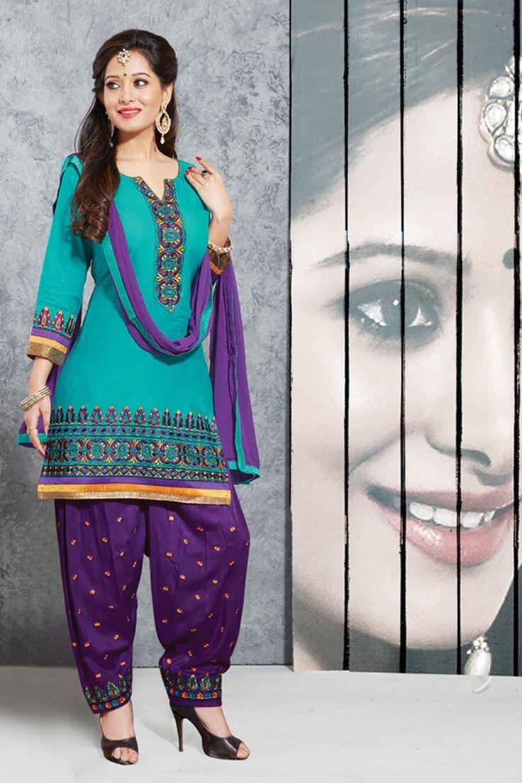 Designer functional wear sky blue cotton punjabi style patiyala dress with embroidary work...