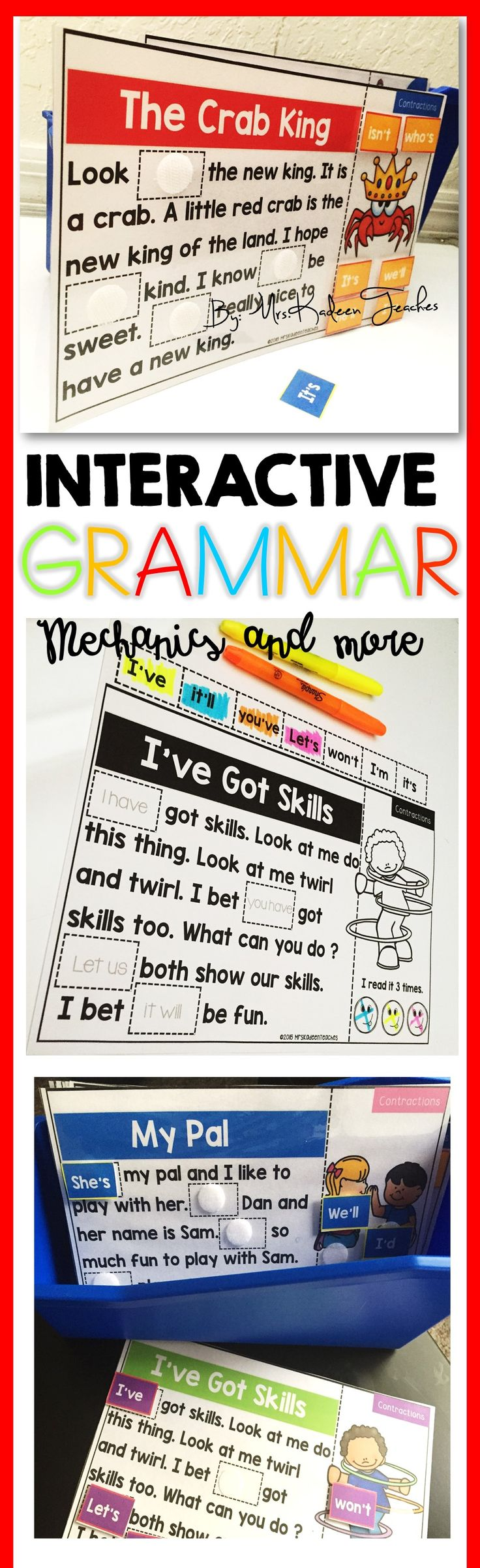 Grammar reading comprehension that is fun, engaging and interactive. Reading comprehension passages for contractions, pronouns, nouns, verbs and adjectives that are super fun and engaging to for your students. These certainly will be a hit with your students.