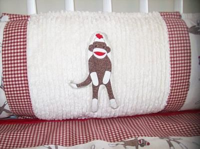 sock monkey baby crib bumper applique custom baby sock monkey nursery decor and bedding is. Interior Design Ideas. Home Design Ideas