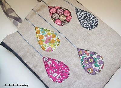 chick chick sewing: Raindrops tote from my book Zakka Handmades