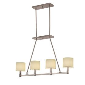 Over pool table Portfolio 39-1/8-in W Aztec 4-Light Brushed Nickel Island Light with Fabric Shade