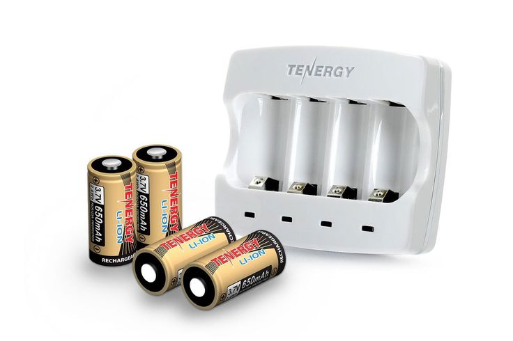 Combo Works with Arlo Tenergy 3.7V RCR123A Li ion Battery Charger 4 pcs 650mAh Batteries for Wire Free HD Security Cameras VMC3030 UN, UL Certified