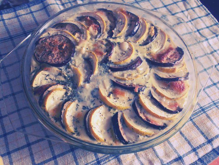 Zucchini, aubergine and mozarella gratin