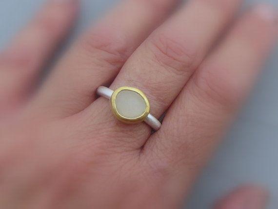 White Moonstone Ring 24 k anillo de oro de Moonstone 22 k