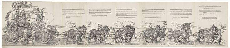 A woodcut showing the Emperor Maximilian in a triumphal chariot. First Latin ed. 1523 ...  This large woodcut, over 2 metres in length, was originally planned as part of a huge printed frieze. The work, undertaken by a team of designers and woodblock cutters, was to show a triumphal procession celebrating Maximilian I, who had been Holy Roman Emperor since 1493. Dürer and his friend, the humanist Willibald Pirckheimer, however, proposed a revised version of the chariot to Maximilian in…