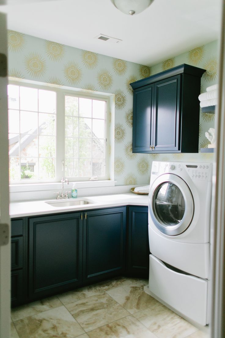 Dark Cabinets And Decorative Wallpaper In Laundry Room Design | House Of  Jade