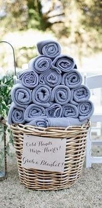 Save them from shivering throughout the entire ceremony by supplying fleece blankets. This way, they can focus better on the I do's.