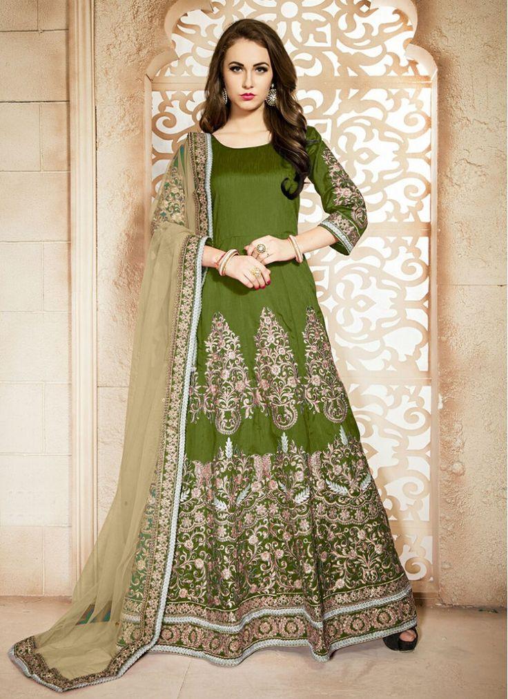 Banglori Silk Green Lace Desinger Anarkali Salwar Kameez
