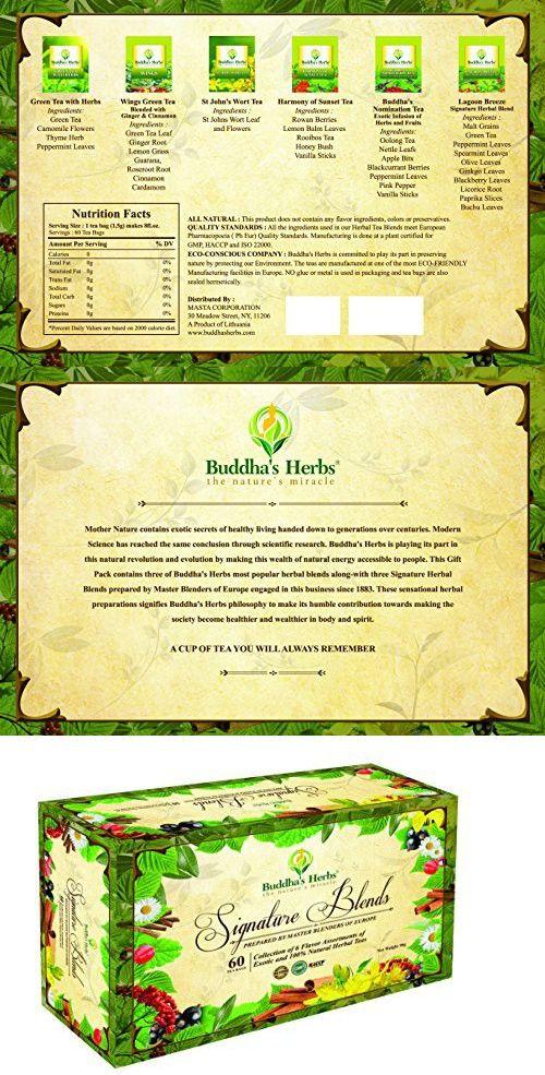 Premium Tea Sampler - Herbal Tea Sampler - 6 Flavor Tea Gift Set - 60 Count Tea Bags - Tea Gifts - Tea New Year Gifts