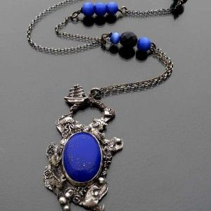 Laguna srebrny wisior z lapis lazuli od Rękami Stworzone