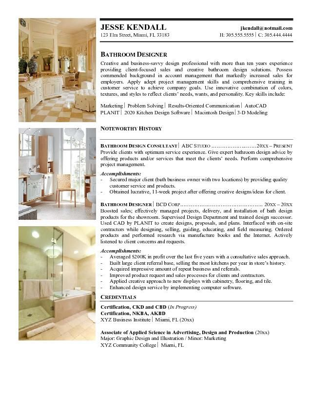 Interior Design Sample Resume