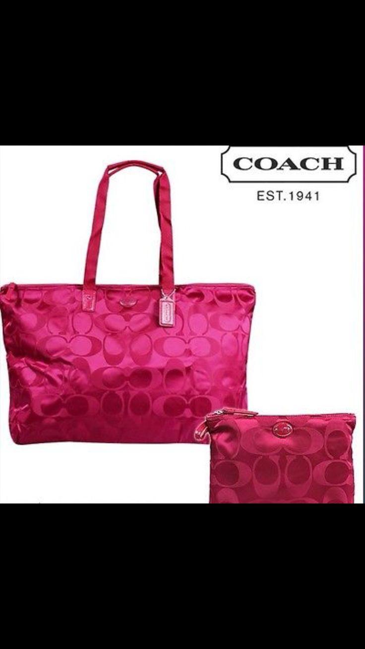 Coach GetAway Signature Nylon  Packable Weekender Fuschia  $ 150