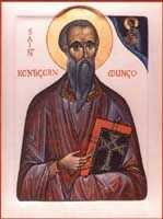 Saint Kentigern, Abbot, Bishop and founder of Glasgow. Apostle of the British Kingdom of Strathclyde. Known as Saint Mungo in Scotland. Died January 614.