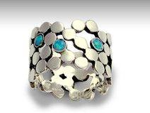 Sterling Silber und Blau punktierte Opalring