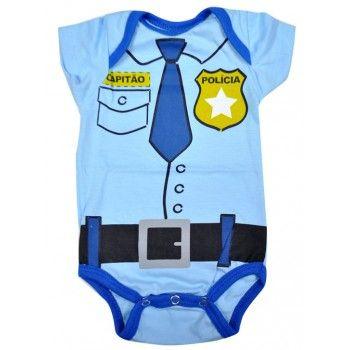 Fantasia Bebê Body Bebê Policial em malha Nuvem Baby & Kids. Moda bebê, Moda Infantil, Roupas de Bebê, roupas Infantis, Fashion Baby, Fashion Kids, bebê roupas, roupas de bebê. www.boobebe.com.br