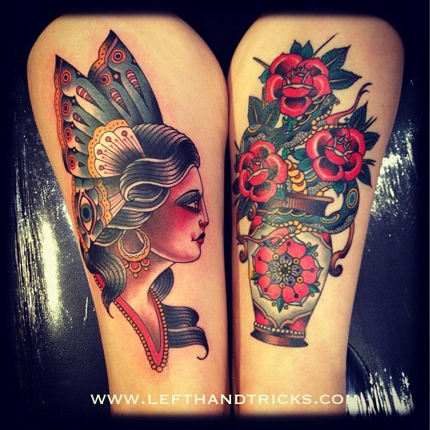 Traditional Gypsy and Flowers tattoos. So cool!!