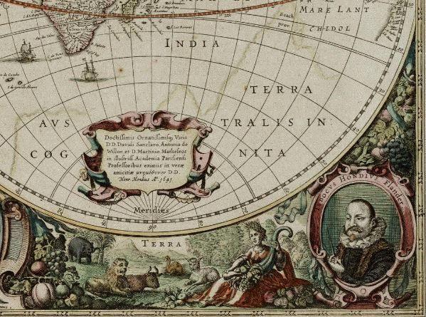 Фрагмент карты мира знаменитого голландского картографа Хендрика Хондиуса. Еще одна интересная деталь - это Terra Australis Incognita (Неизвестная Южная Земля) на самой карте. Еще в античные времена географы полагали, что в южном полушарии обязательно должна быть какая-то обширная земля. Это все было лишь догадками, ведь впервые в истории (известной нам) человек увидел Антарктиду только в 1820 году. #карта #карты #старыекарты #картамира #Земля #4элемента #Антарктида #география #картография…