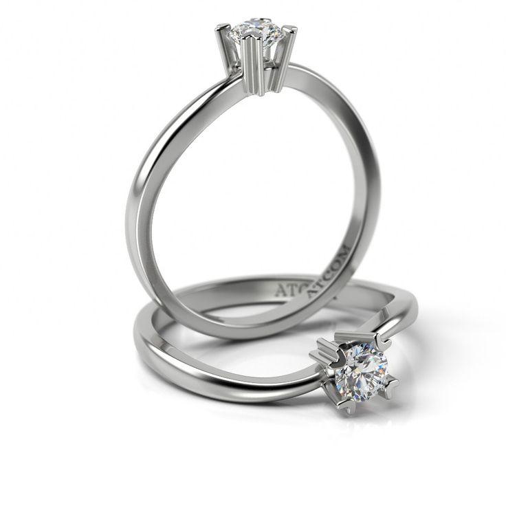 Inel de logodna cu diamant Haleb din aur alb