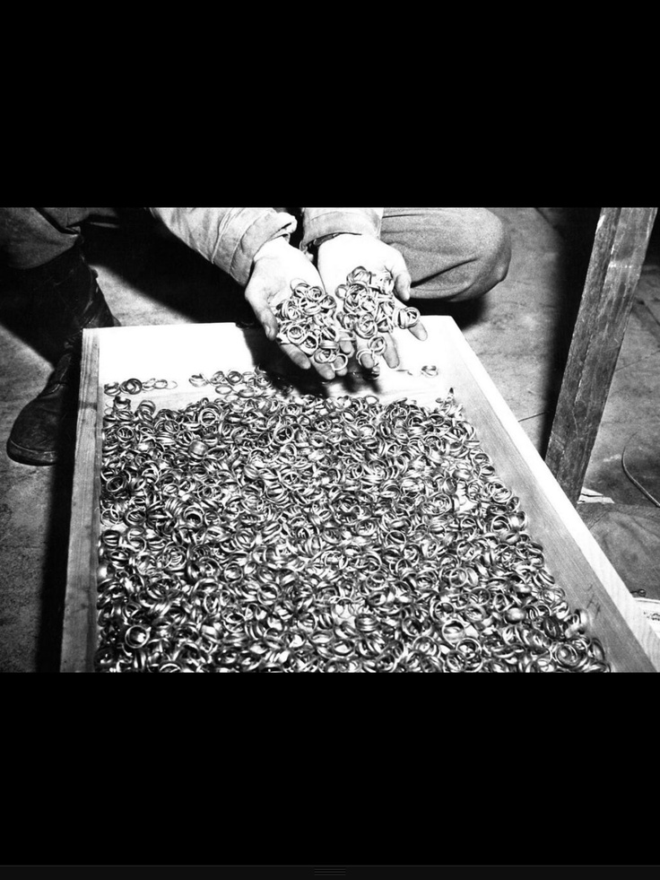 Wedding rings of Holocaust victims. Just remember, this cannot be all of them. Each of these rings belonged to a person who had a family, a person they loved. This is one of the most haunting things I've ever seen.